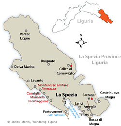 La Spezia Province Map Wandering Liguria